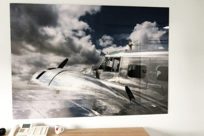Magentpinnwand Glas Motiv Flugzeug