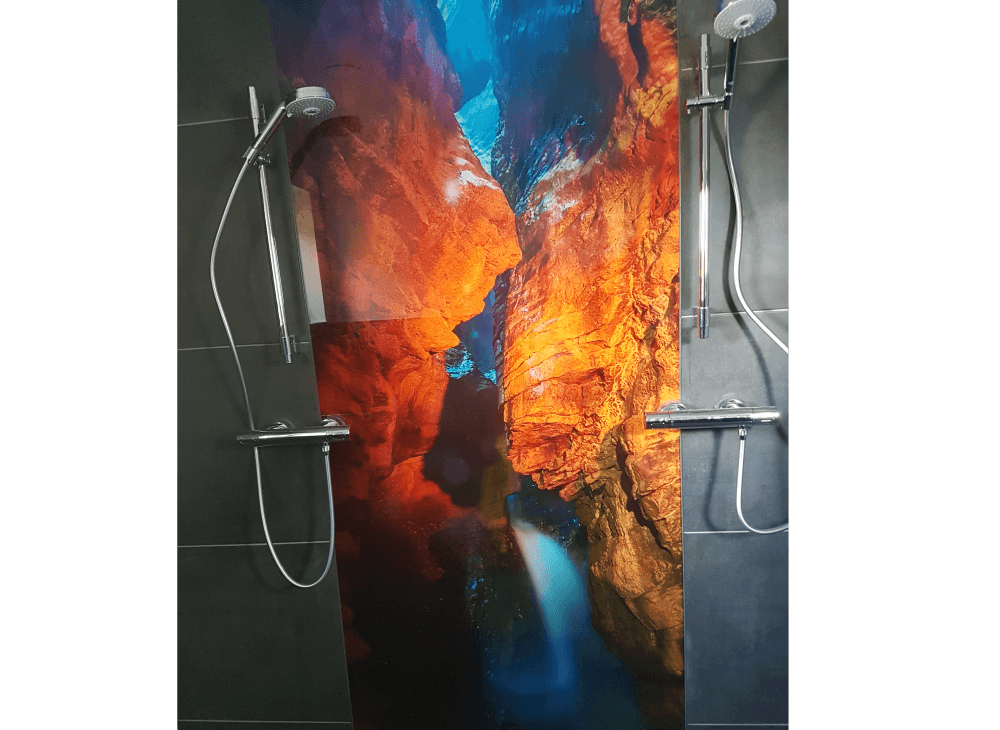 Duschrückwand aus Glas Höhlen-Motiv