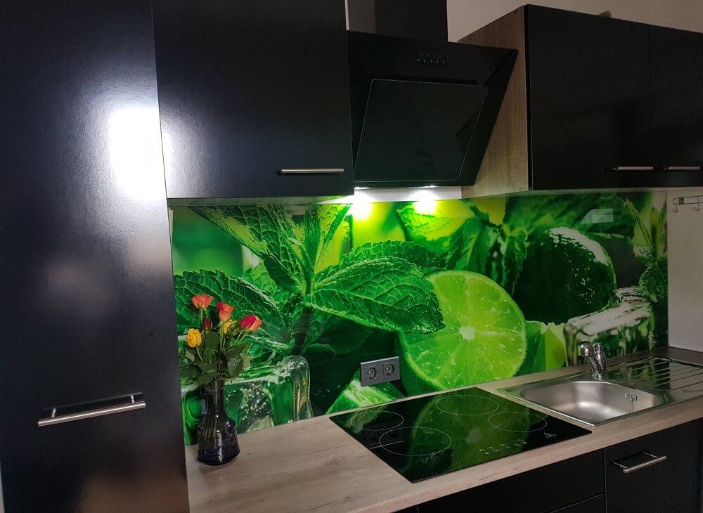 Küchenrückwand aus Glas Motiv Limette