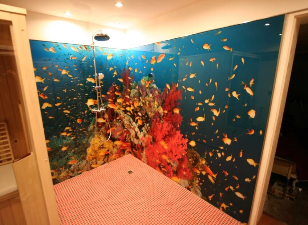 Duschrückwand aus Glas Unterwasser-Motiv