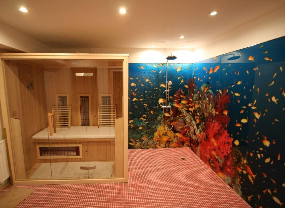 Duschrückwand aus Glas Fische-Motiv