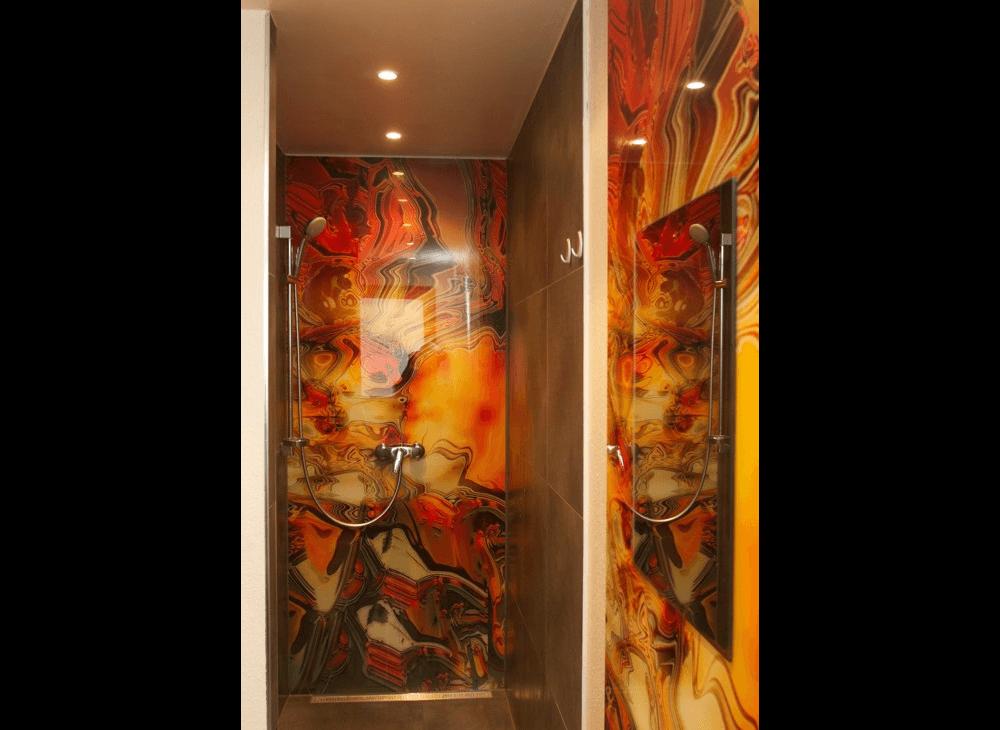 Duschrückwand aus Glas Gelb-Motiv