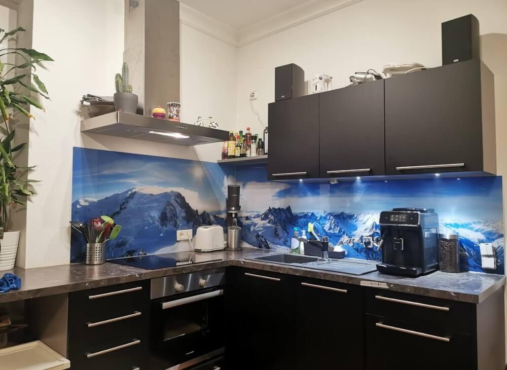Küchenrückwand aus Glas Motiv Alpen
