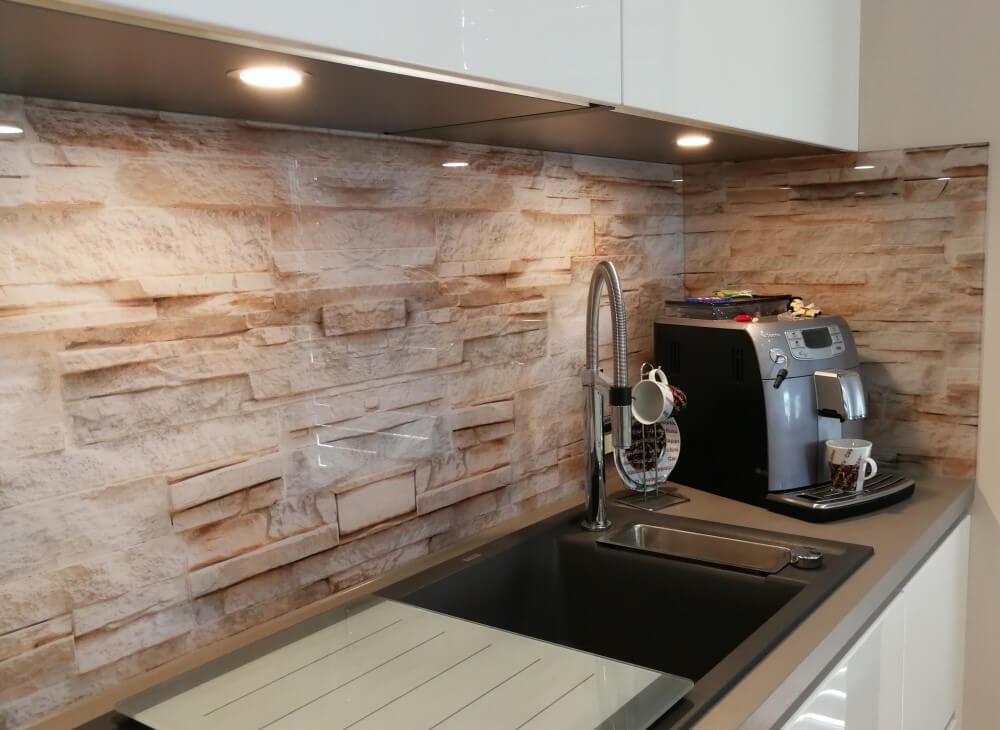 Küchenrückwand aus Glas Motiv Steinmauer
