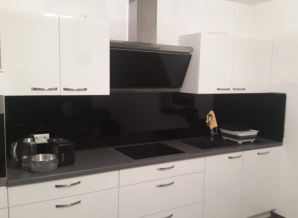 Küchenrückwand aus Glas Motiv Schwarz