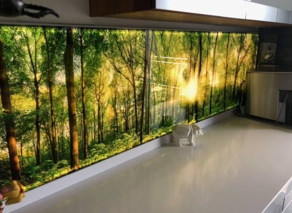 Glasküchenrückwand beleuchtet mit Waldmotiv
